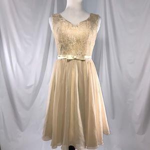 494311d67196 Hebeos padded Champange lace chiffon dress Sz S